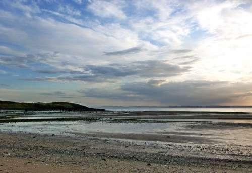 Shoreline Coast Beach Sunset Evening Low Tide