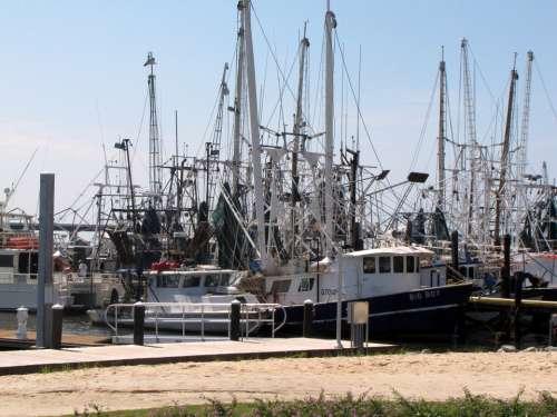 Shrimping Boats Gulf Coast Ms Beach Fishing Dock
