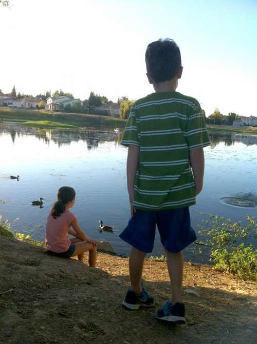 Siblings Kids Boy Girl Young Pond Ducks Thinking