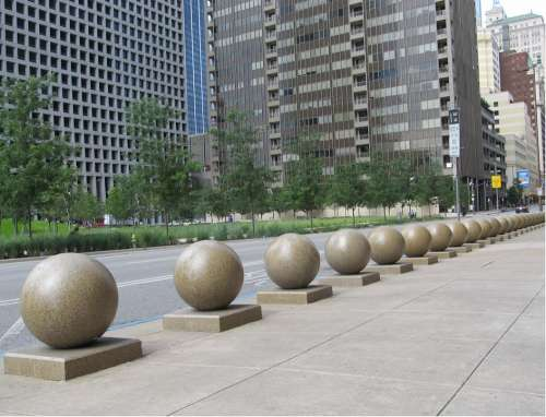Sidewalk Orbs Downtown Details Cityscape City