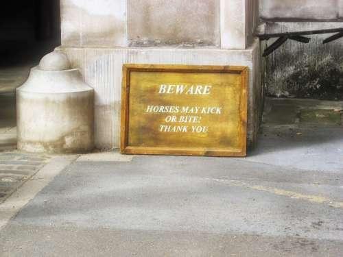Sign Warning Horses Kick Bite London