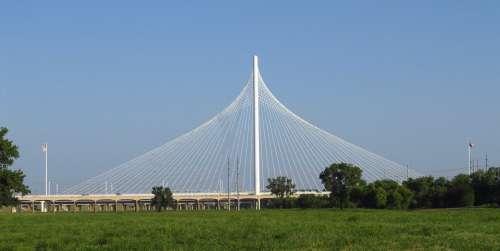 Signature Bridge Dallas Texas Cable Skyline