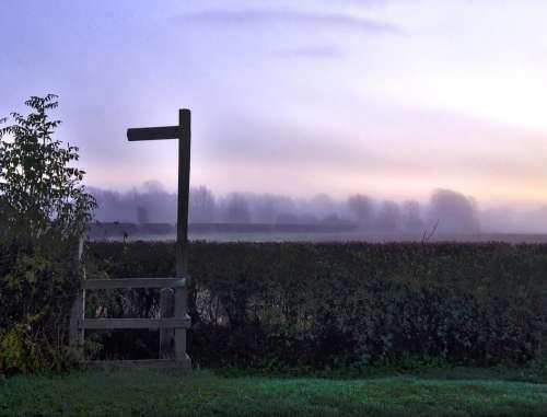 Signpost Dawn Morning Misty Mist Nature