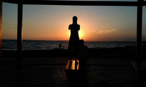 Silhouette People Sunset Summer Sky Sea