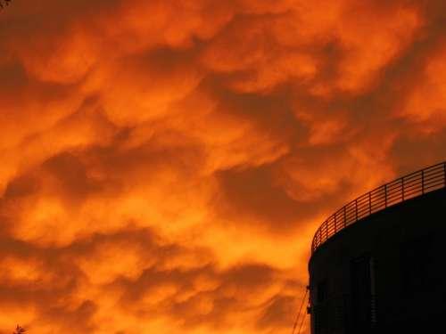 Silo Orange Sky Sunset Dusk Urban Eerie Spooky