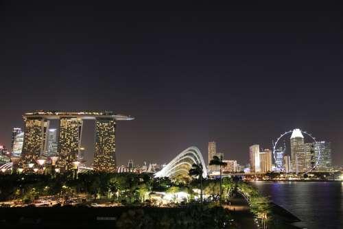 Singapore Night Dark Light Structure Landmark