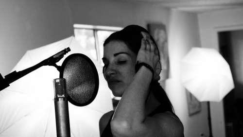 Singer Musician Woman Headphones Girl Singing