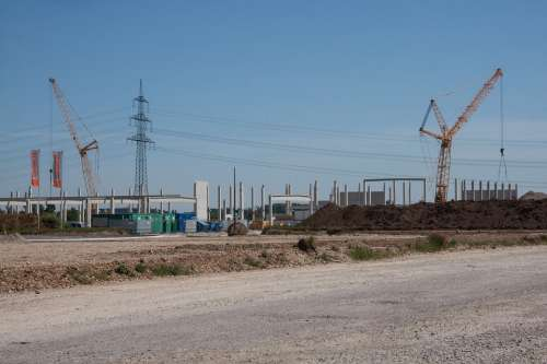 Site Industrial Area Development Cranes Baukran