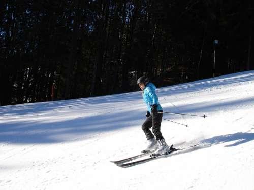 Skiers Ski Run Ski Area Skiing Alpine Skiing