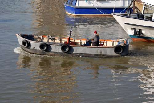 Skiff Boatman River Thames London