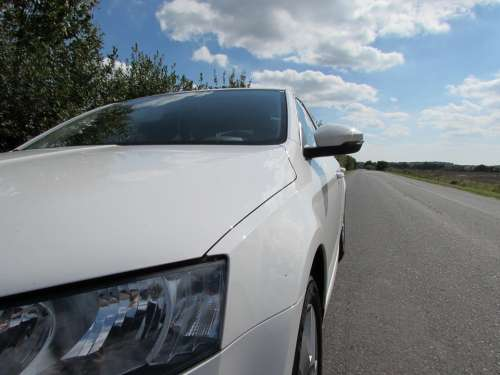 Skoda Auto Spotlight Modern Vehicle White Road