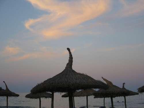 Sky Clouds Twilight Parasols Sea Summer
