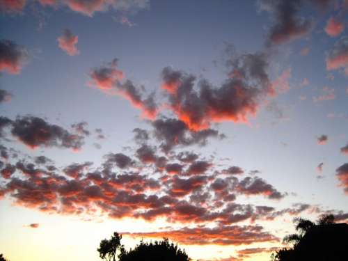 Sky Clouds Scattered Dark Orange Gold Sunset