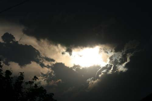 Sky Clouds Dark Greys Layered Sunset Sun
