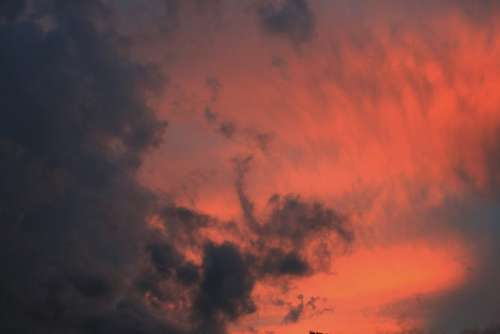 Sky Sunset Clouds Rosy Dark Glowing