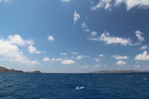 Sky Clouds Blue Water Sea Ocean Island Empty