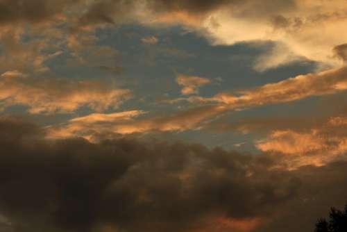 Sky Sunset Evening Sky Clouds Afterglow