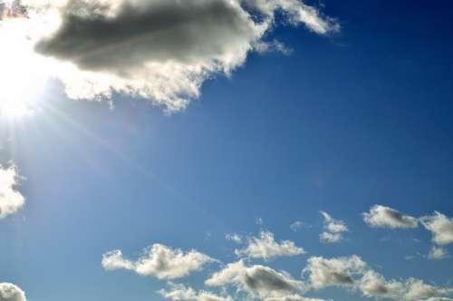 Sky Clouds Nature Background Cloudy Sun Blue