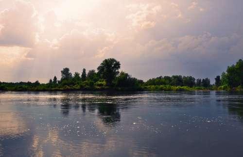 Sky Clouds Water River Nature Landscape Sun Warm
