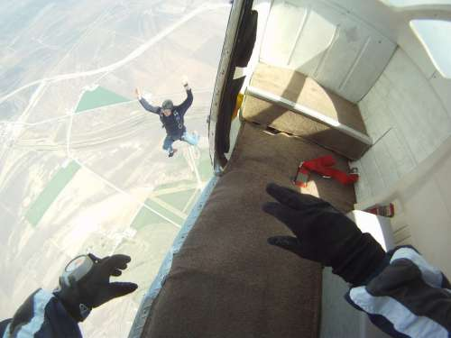 Skydiving Parachutist Jumping Excitement Sky