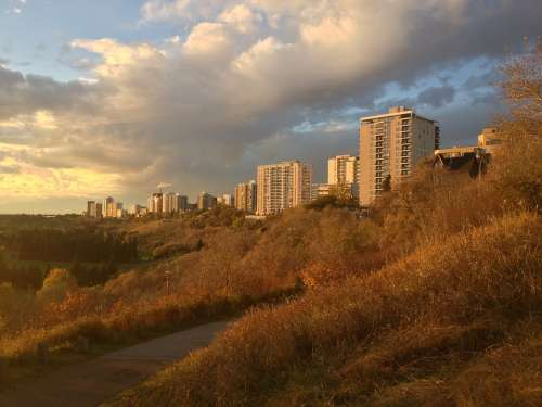Skyline Sunset River Valley Clouds Edmonton