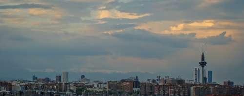 Skyline Madrid Skyscraper Architecture Sunset