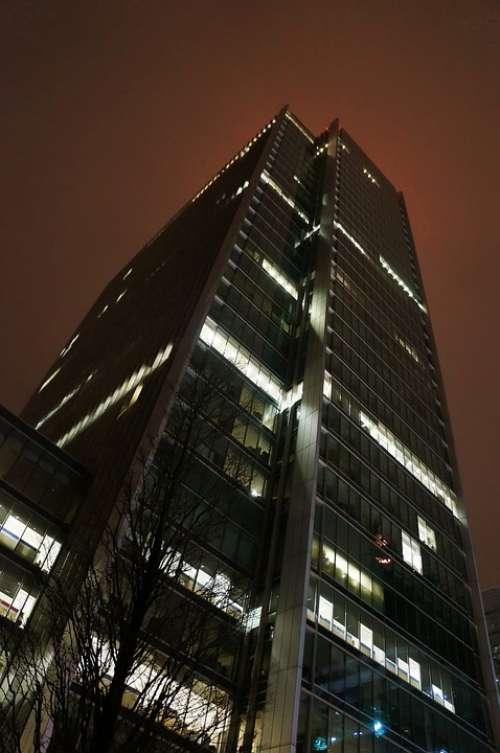 Skyscraper Building Architecture Glass Night