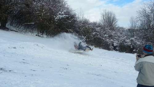 Sleigh Ride Action Movement Hill Fun Jump Snow