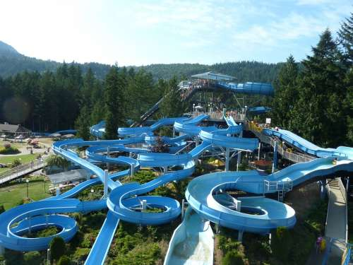 Slip Water Park Leisure Water Fun Blue Pleasure