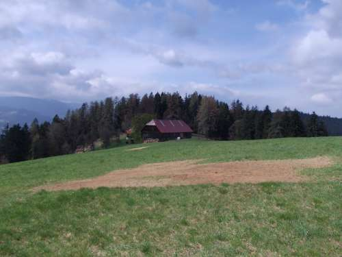Slovakia Farm Barn House Rural Forest Trees Sky