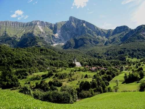 Slovenia Church Landscape Kobarid Drežnica Summer