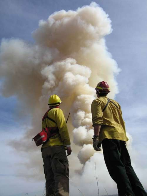 Smoke Fire Big Front Stand Firefighters Men Male