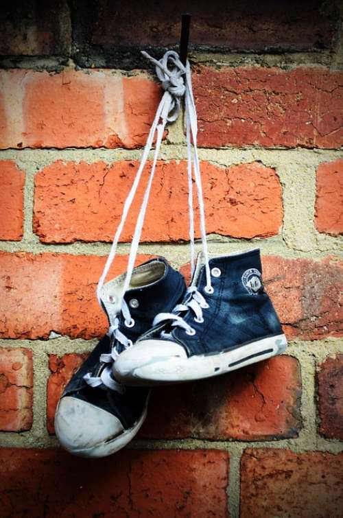 Sneakers Shoes Boots Old Children Wall Brick