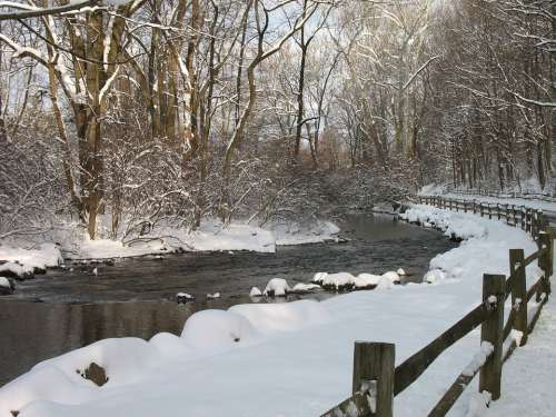 Snow Trees Water Stream Woods Fence Countryside