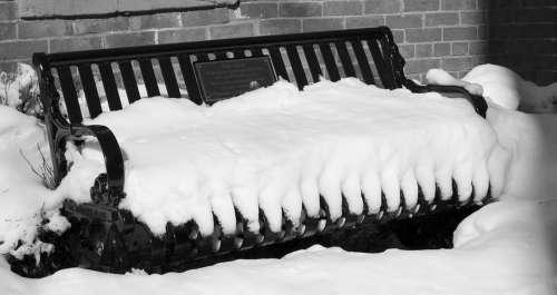 Snow Bench White Day Winter Colorado Cold