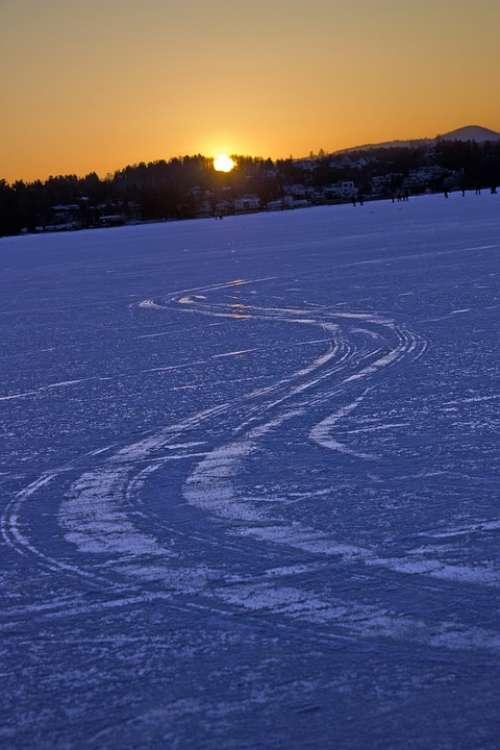 Snow Tour Winter Sunset