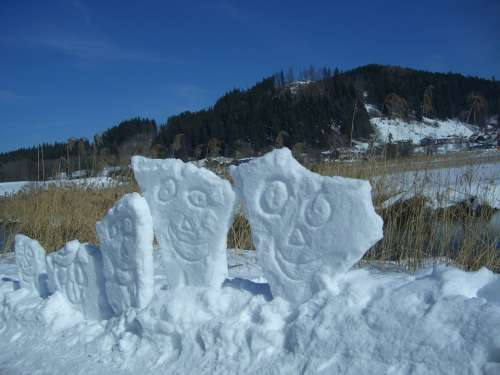 Snow Art Faces Snow Smilies