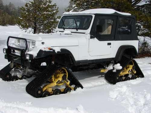 Snow Cat Snowtracks Snow Cold Car Vehicle Jeep
