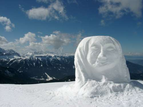 Snow Woman Snow Winter Mountains Dolomites Wintry