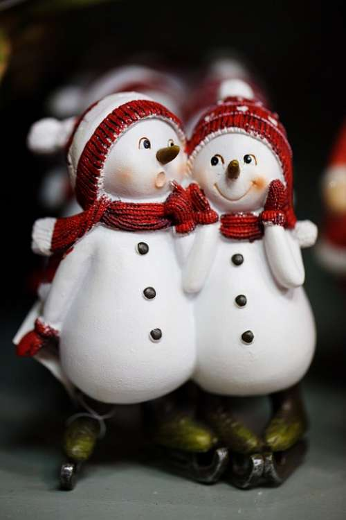 Snowmen Celebration Christmas Cold Couple Cute