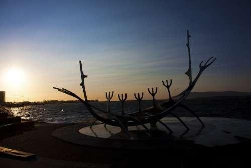 Solar Voyager Iceland Sunset Landscape Boat Viking