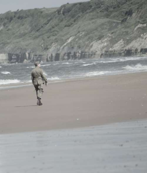 Soldier Walk Only Beach Normandy Landing Ocean