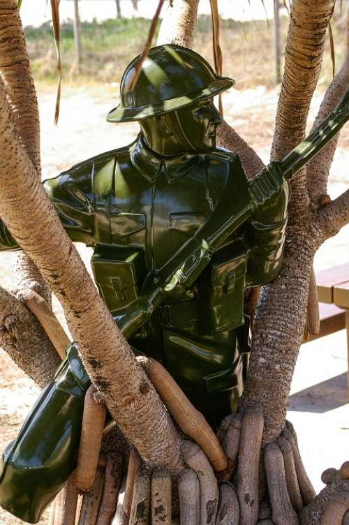 Soldier Sculpture Art Gun Modern Statue Green