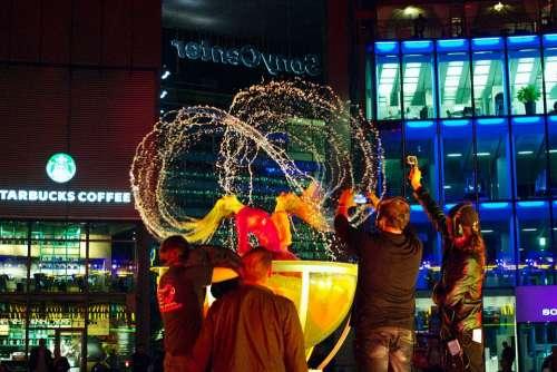 Sony Center Water Fountain Fountain Night Lights