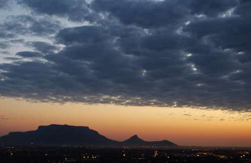 South Africa Table Mountain Sunset Sky