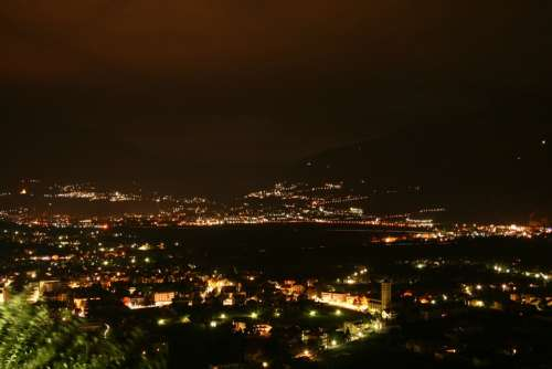 South Tyrol Italy Mountains View City Night
