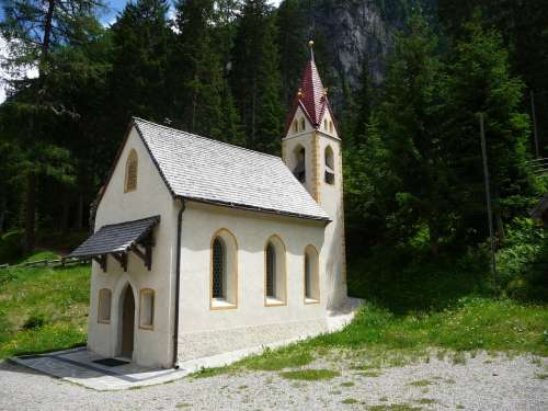 South Tyrol Martell Church Forest Alpine