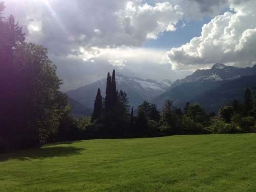 South Tyrol Meran Meadow Nature Sky Mountains