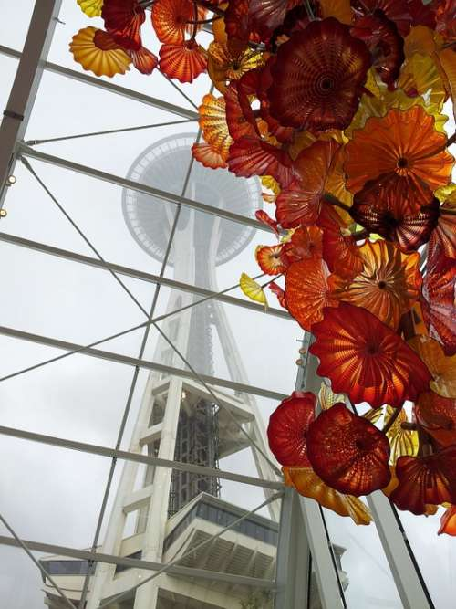 Space Needle Seattle Chihuly Museum City