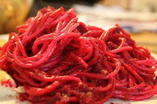 Spaghetti Noodles Red Beets